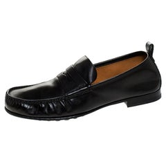 Gucci Black Leather Beyond Penny Loafers Size 40