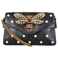 GUCCI black leather BROADWAY PEARLY BEE MINI Shoulder Bag