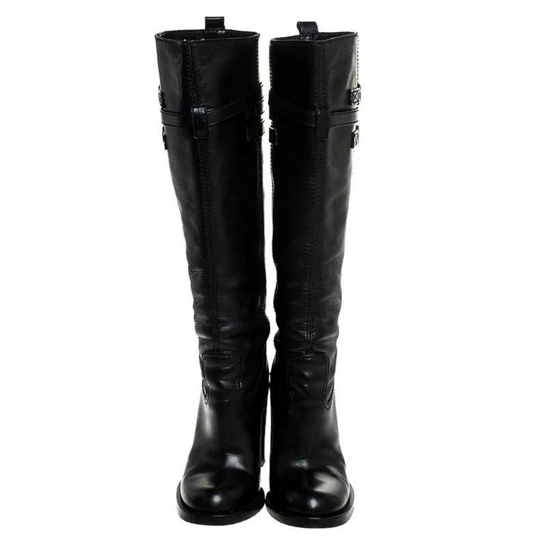 Gucci Black Leather Buckle Riding Knee Length Boots Size 38 In Good Condition For Sale In Dubai, Al Qouz 2