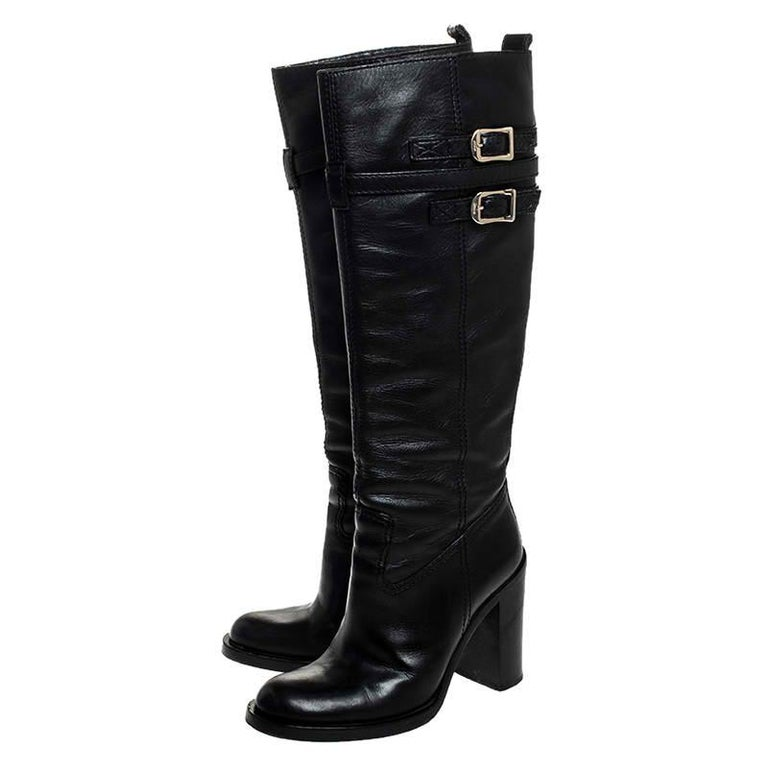 Women's Gucci Black Leather Buckle Riding Knee Length Boots Size 38 For Sale