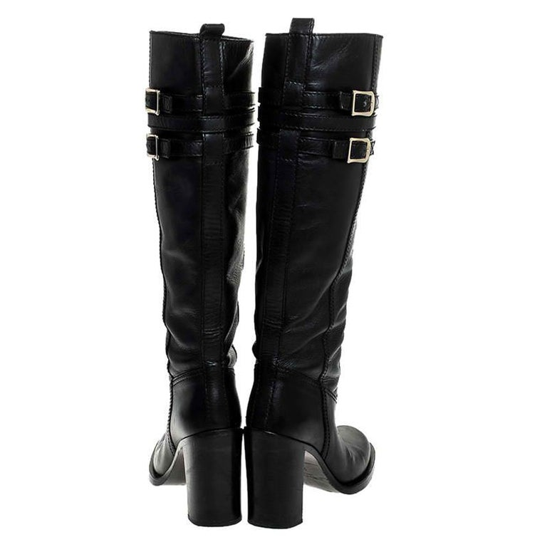 Gucci Black Leather Buckle Riding Knee Length Boots Size 38 For Sale 1