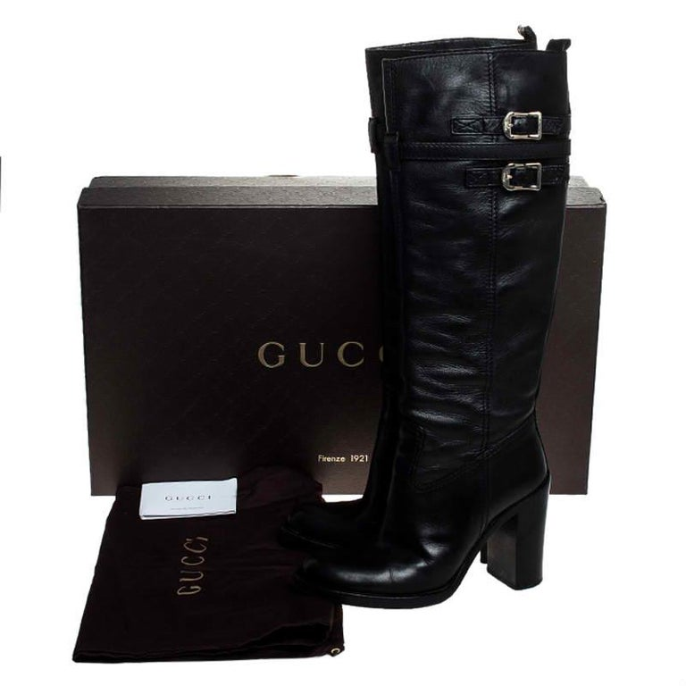 Gucci Black Leather Buckle Riding Knee Length Boots Size 38 For Sale 4