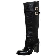 Gucci Black Leather Buckle Riding Knee Length Boots Size 38