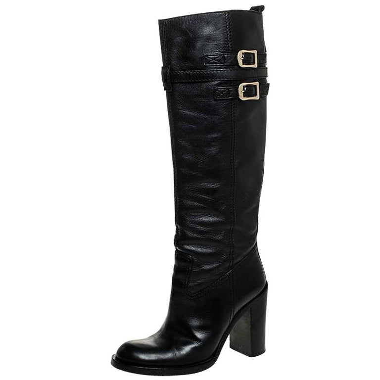 Gucci Black Leather Buckle Riding Knee Length Boots Size 38 For Sale