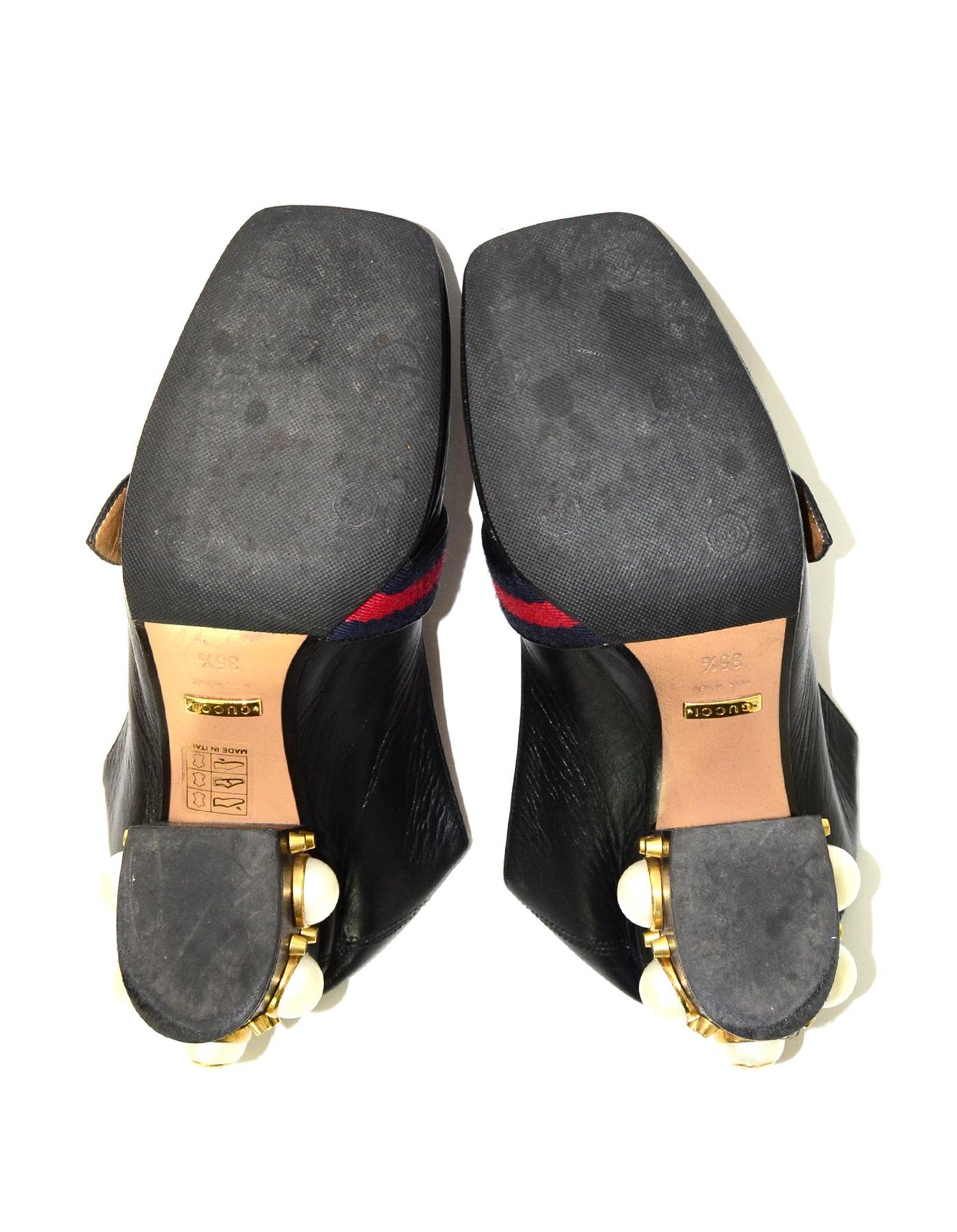 8ce2306ee44 Gucci Black Leather Collapsible Shoes W  Faux Pearl Heels Sz 35.5 For Sale  at 1stdibs