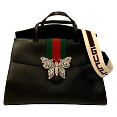 Gucci Black Leather Crystal Butterfly Linea Totem Large Bag