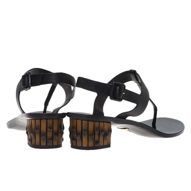 e3f64c4c2 Gucci Black Leather Dahlia Bamboo Heel Thong Sandals Size 40 In Good  Condition For Sale In