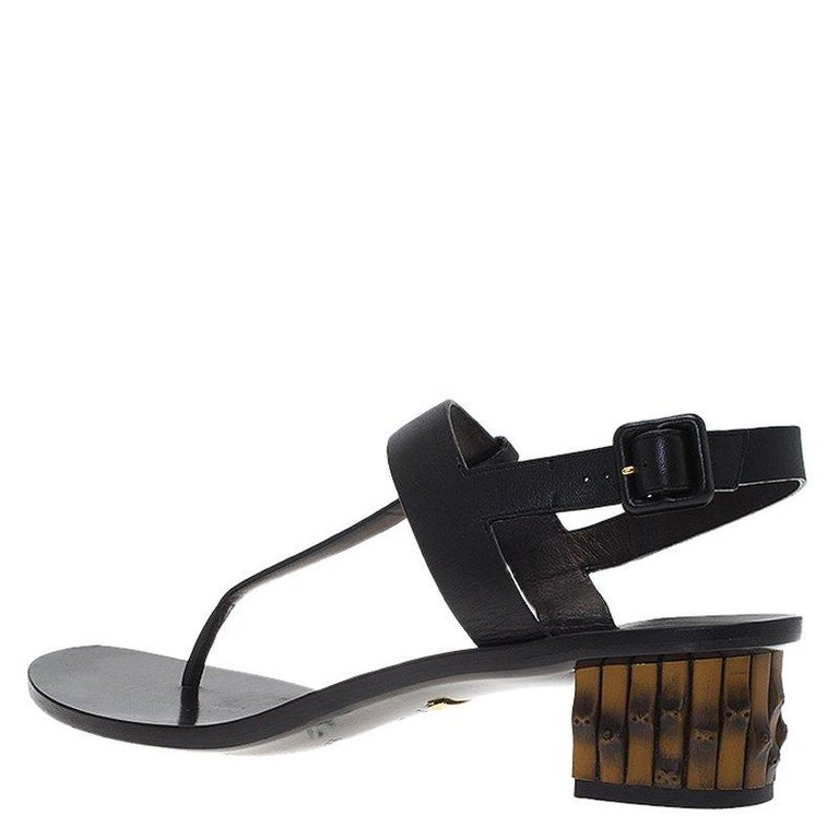 85f33f5fd Gucci Black Leather Dahlia Bamboo Heel Thong Sandals Size 40 For Sale 2