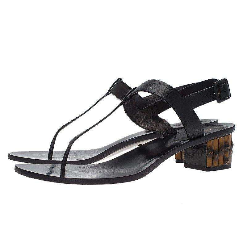 4bede4fba Gucci Black Leather Dahlia Bamboo Heel Thong Sandals Size 40 For Sale at  1stdibs