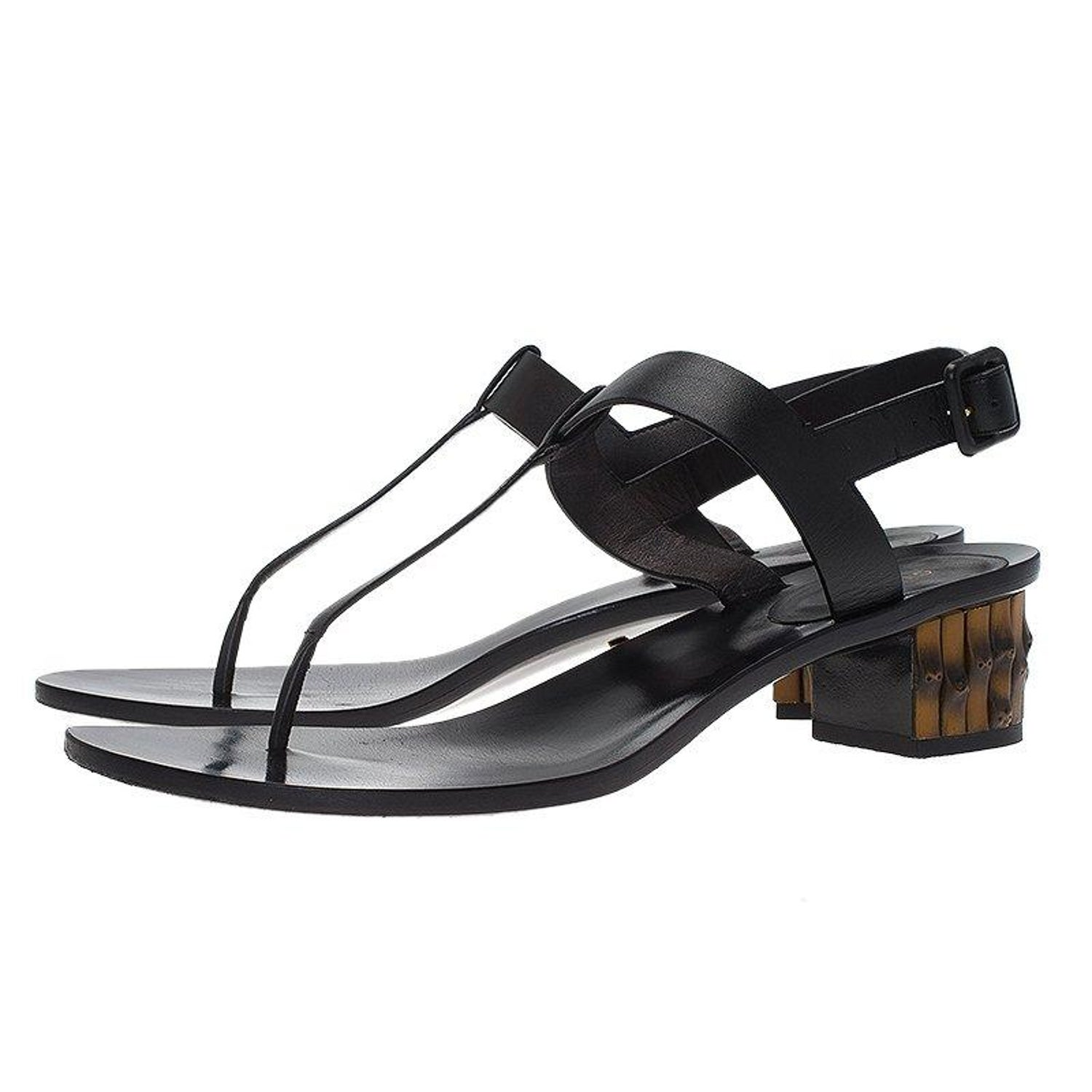 0d310db038cf3 Gucci Black Leather Dahlia Bamboo Heel Thong Sandals Size 40 For Sale at  1stdibs