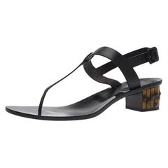 Gucci Black Leather Dahlia Bamboo Heel Thong Sandals Size 40