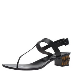 80cfd3efe17d Gucci Black Leather Dahlia Bamboo Heel Thong Sandals Size 40
