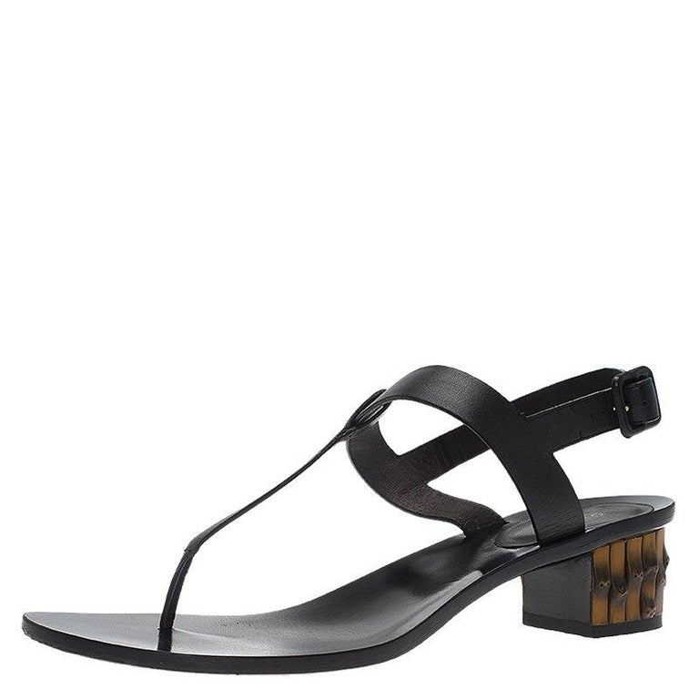 f52503a46 Gucci Black Leather Dahlia Bamboo Heel Thong Sandals Size 40 For Sale