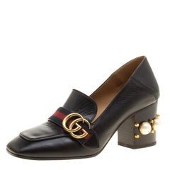 Gucci Black Leather Faux Pearl Embellished Collapsible Heel Counter Loafer Pumps