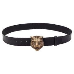 Gucci Black Leather Feline Buckle Belt Size 100CM