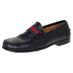 Gucci Black Leather Frederik Web Loafers Size 41