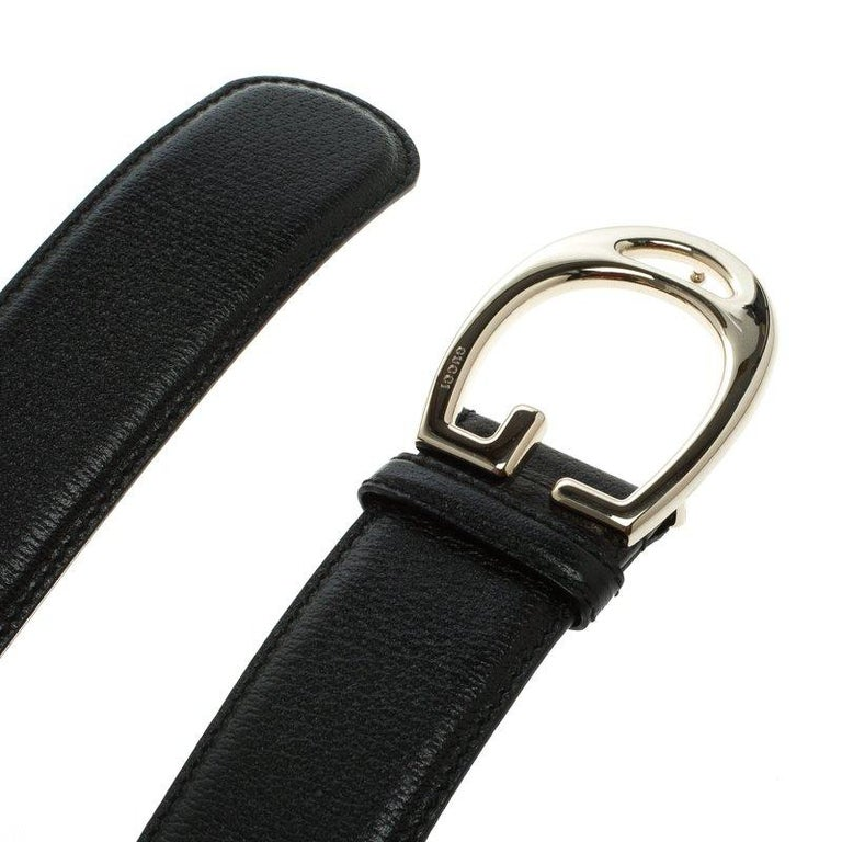 Women's Gucci Black Leather G Buckle Belt 95 CM For Sale