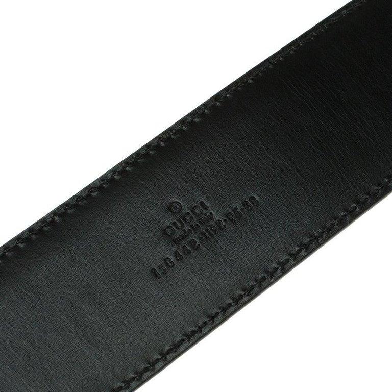 Gucci Black Leather G Buckle Belt 95 CM For Sale 1