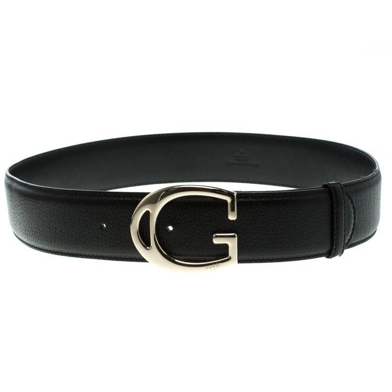Gucci Black Leather G Buckle Belt 95 CM For Sale