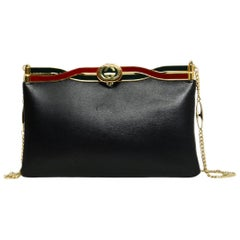 Gucci Black Leather GG Broadway Evening Bag w/ Twisted Enamel