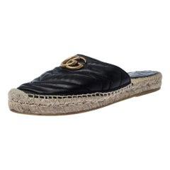Gucci Black Leather GG Espadrilles Size 37