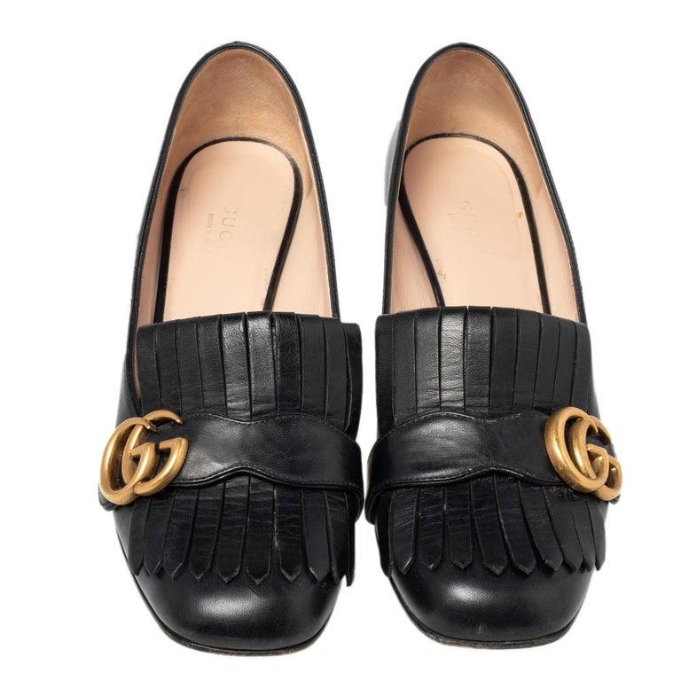 Gucci Black Leather GG Fringe Detail Loafer Pumps Size 37 In Good Condition In Dubai, Al Qouz 2