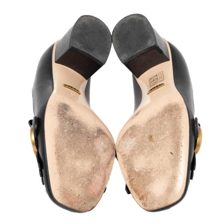 Gucci Black Leather GG Fringe Detail Loafer Pumps Size 37 1