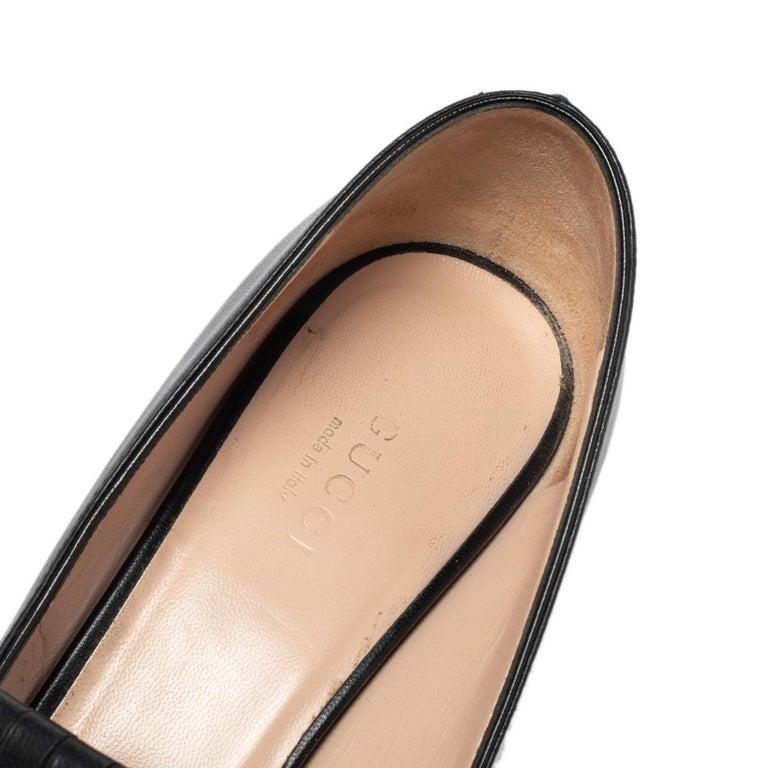 Gucci Black Leather GG Fringe Detail Loafer Pumps Size 37 2