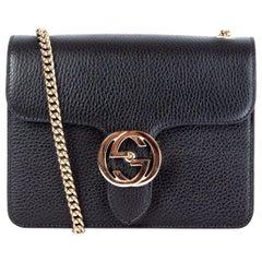 GUCCI black leather GG INTERLOCKING Shoulder Bag