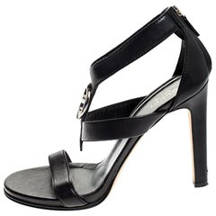 Gucci Black Leather GG Logo Open Toe Sandals Size 39