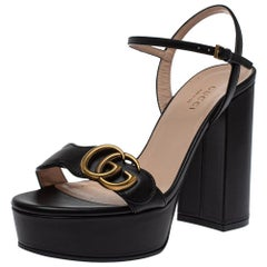 Gucci Black Leather GG Marmont Ankle Strap Sandals Size 35