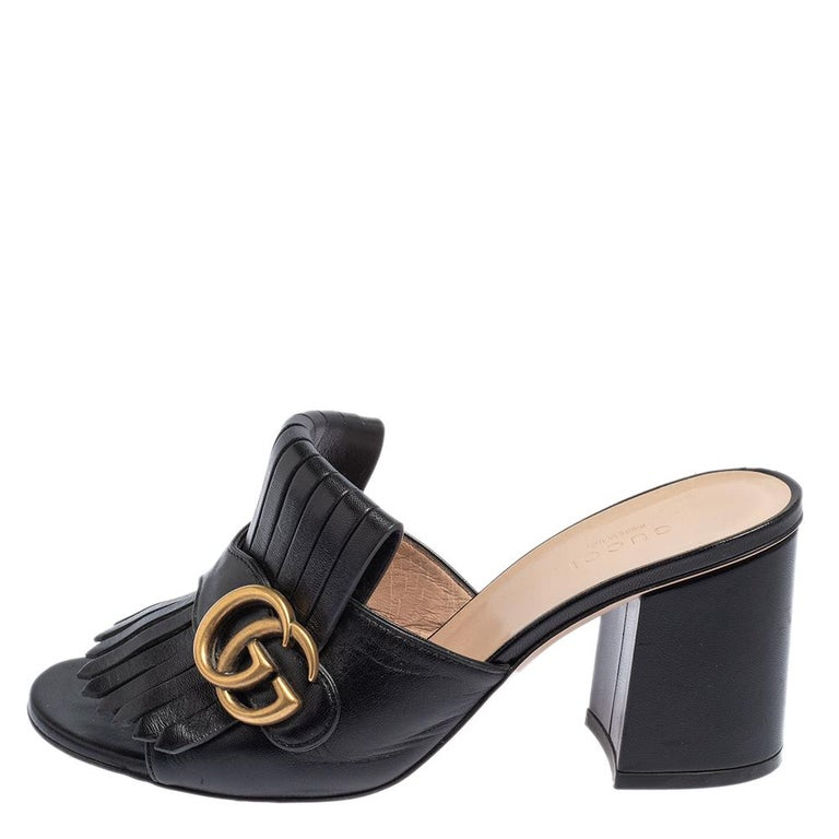 Gucci Black Leather GG Marmont Fringe Detail Open Toe Sandals Size 37 For Sale 1