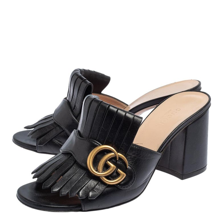 Gucci Black Leather GG Marmont Fringe Detail Open Toe Sandals Size 37 For Sale 3