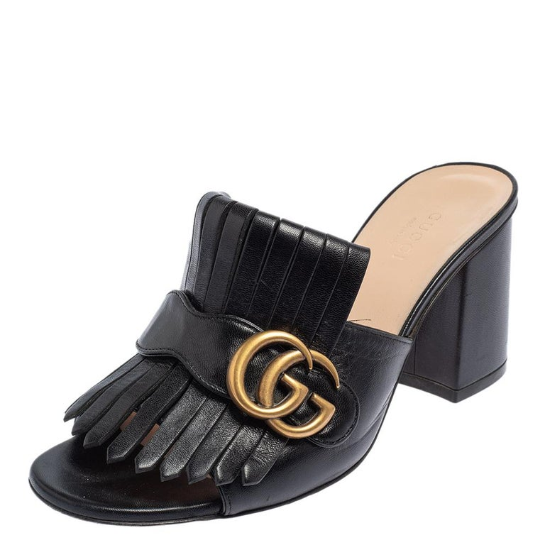 Gucci Black Leather GG Marmont Fringe Detail Open Toe Sandals Size 37 For Sale