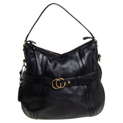 Gucci Black Leather GG Running Hobo