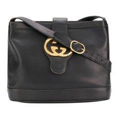 Gucci Black Leather GG Shoulder Bag