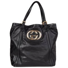 GUCCI black leather GG Tote Shoulder Bag