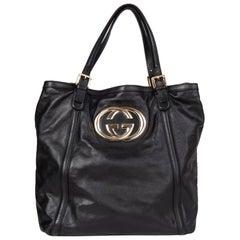 GUCCI black leather GG Tote Shoulder Bag
