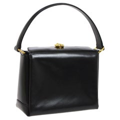 Gucci Black Leather Gold Emblem Kelly Style Party Evening Top Handle Satchel Bag
