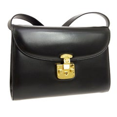 Gucci Black Leather Gold Flip Lock 2 in 1 Evening Clutch Shoulder Flap Bag
