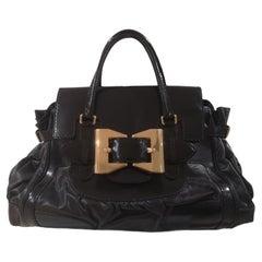 Gucci Black leather gold tone hardware shoulder handle bag