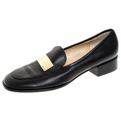 Gucci Black Leather Gold-Tone Logo Plate Block Heel Loafer Pumps Size 37