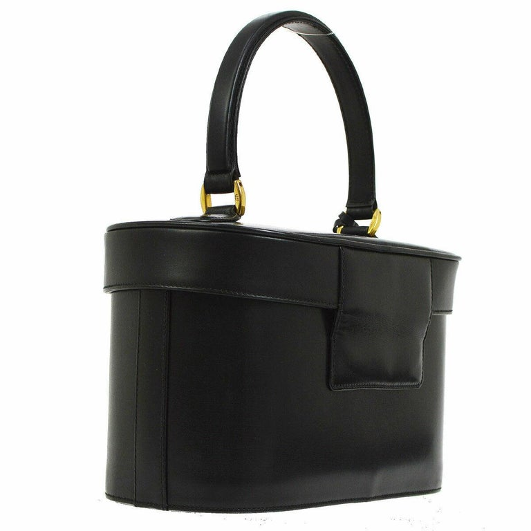 Gucci Black Leather Gold Top Handle Satchel Evening Kelly Jewelry Box Bag In Good Condition For Sale In Chicago, IL
