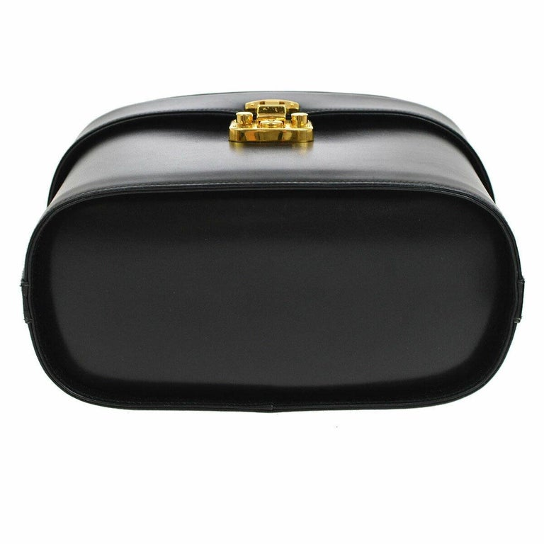 Women's Gucci Black Leather Gold Top Handle Satchel Evening Kelly Jewelry Box Bag For Sale