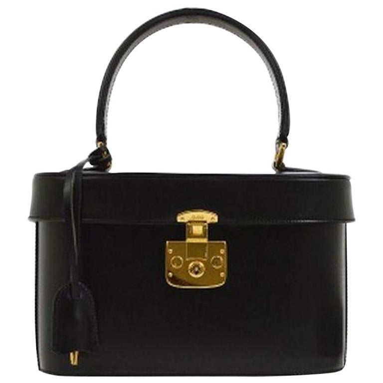 Gucci Black Leather Gold Top Handle Satchel Evening Kelly Jewelry Box Bag For Sale