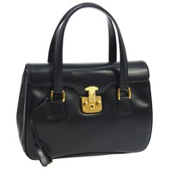 Gucci Black Leather Gold Top Handle Satchel Kelly Style Carryall Shoulder Bag