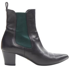 GUCCI black leather green elastic gusset pointed toe block heel ankle boot EU38