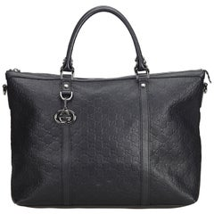 Gucci Black  Leather Guccissima Weekender Italy