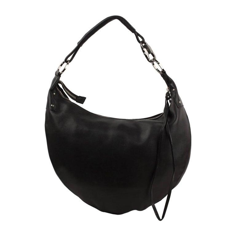 12cf450e39e48 Gucci Black Leather Half Moon Hobo Bag Shoulder Bag Tote
