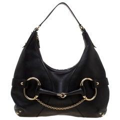 Gucci Black Leather Heritage Horsebit Hobo